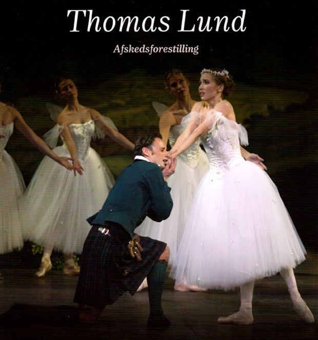Special programme cover - Thomas Lund and Gudrun Bojesen in <I>La Sylphide</I>.<br />© Huset Mydtskov. (Click image for larger version)