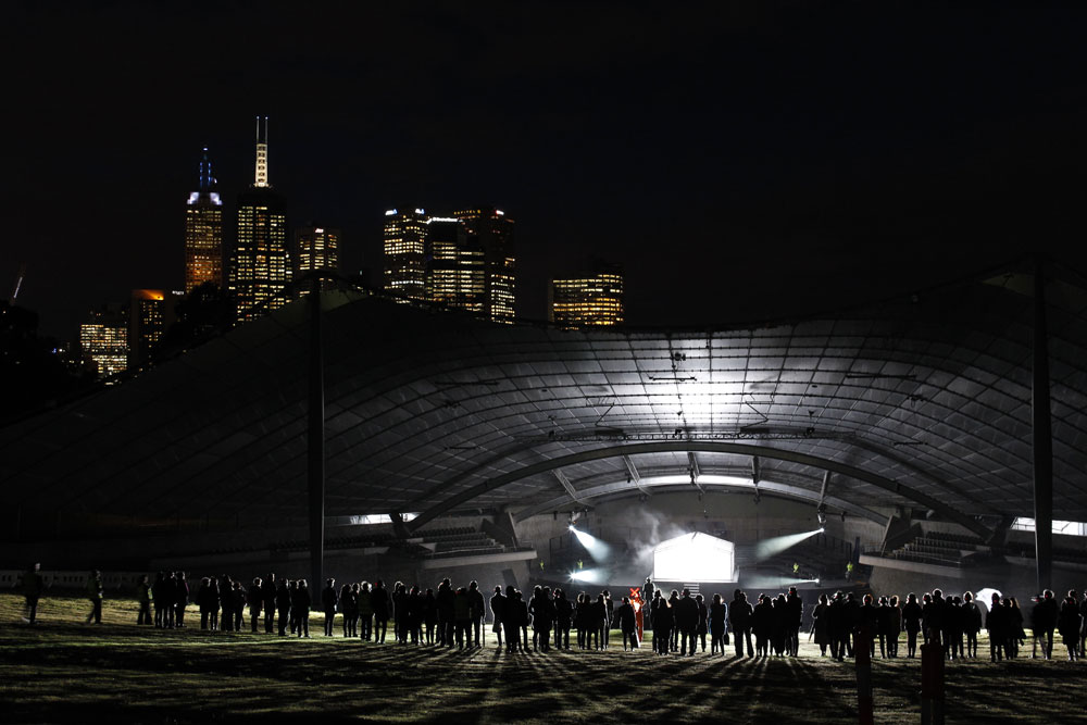 Sidney Myer Music Bowl and performance space for <I>An Act of Now</I>.<br />© Jeff Busby. (Click image for larger version)