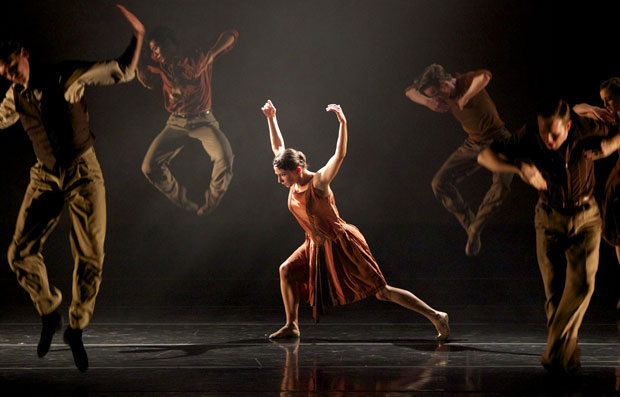 Terez Dean with the full company of Smuin Ballet performing Adam Hougland's <I>Cold Virtues</I>.<br />© Keith Sutter. (Click image for larger version)