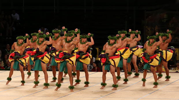 Ka Leo O Laka I Ka Hikina O Ka Lā performing world première of <i>Hula Kāne: The Ancient Art of Hawaiian Male Dance</i>.<br />© MM Kane Kahiko. (Click image for larger version)