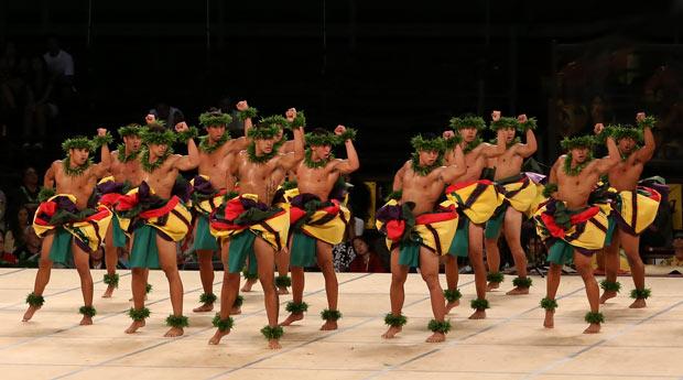 Ka Leo O Laka I Ka Hikina O Ka Lā performing world première of <i>Hula Kāne: The Ancient Art of Hawaiian Male Dance</i>.<br />© MM Kane Kahiko. (Click image for larger version)
