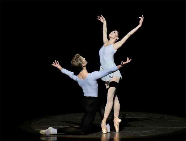 Megan Fairchild and Chase Finlay in George Balanchine's <I>Duo Concertant</I>.<br />© Paul Kolnik. (Click image for larger version)