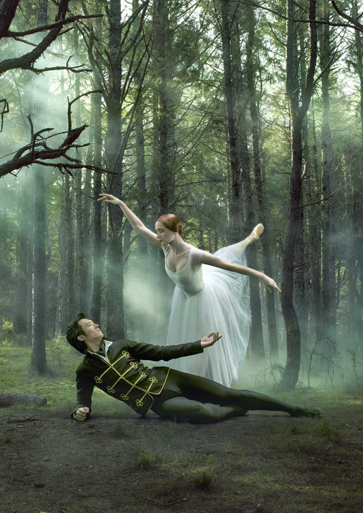 Qi Huan and Gillian Murphy in an RNZB Giselle promotional poster.© Ross Brown. (Click image for larger version)