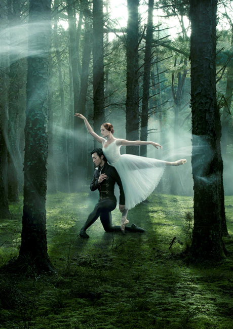 Qi Huan and Gillian Murphy in an RNZB <I>Giselle</I> promotional poster.<br />© Ross Brown. (Click image for larger version)