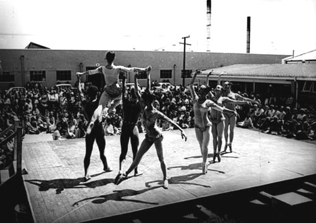 """The company performing Russell Kerr and Poul Gnatt's <I>Prismatic Variations</I> at the Lane Walker Rudkin factory in Christchurch in 1969's Spring Tour.<br />Photograph by Christchurch Star ©, courtesy of RNZB and part of a 2002 Balletco piece by Jan Bolwell on the <a href=""""http://www.ballet.co.uk/magazines/yr_02/dec02/jb_rnzb_history.htm"""">History of RNZB</a>"""