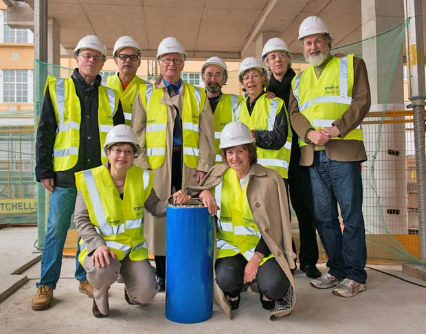 Rambert Dance Company's Artistic Director, Mark Baldwin, joined by former Artistic Directors or their representatives, to bury time capsule at Rambert's new headquarters on the South Bank. Back L-R: Tim Ellis, Mark Baldwin – Artistic Director, John Chesworth, Christopher Bruce, Val Bourne, Robert North and Richard Alston. Front L-R: Matilda Ellis and Prue Skene.<br />© Simon Weir. (Click image for larger version)