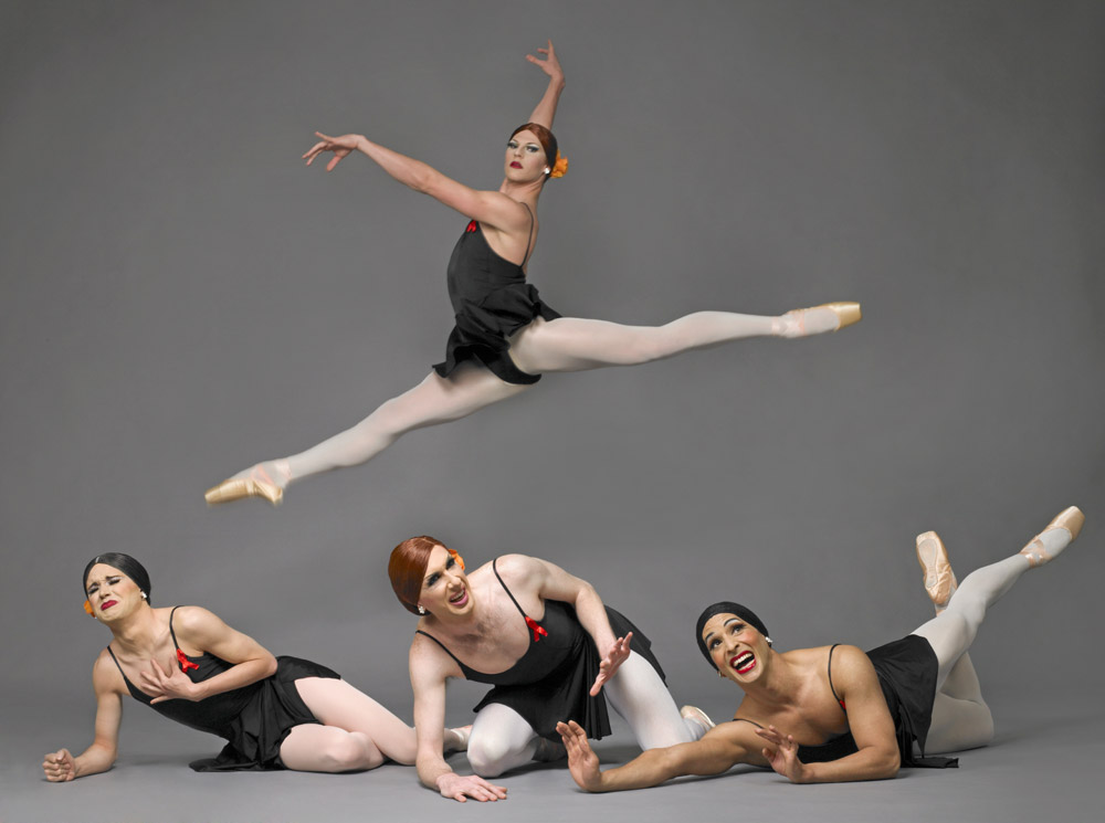 Trocks in <I>Go for Barocco</I>.<br />© Les Ballets Trockadero de Monte Carlo. (Click image for larger version)