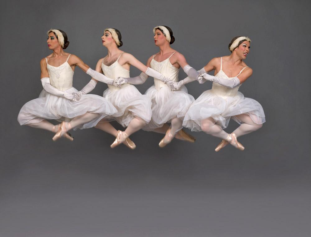 Trocks in <I>Swan Lake</I>.<br />© Les Ballets Trockadero de Monte Carlo. (Click image for larger version)