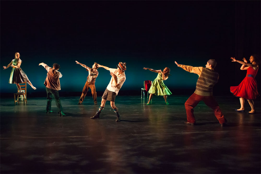 Mark Morris Dance Group in <I>A Wooden Tree</I>.<br />© Tim Summers. (Click image for larger version)