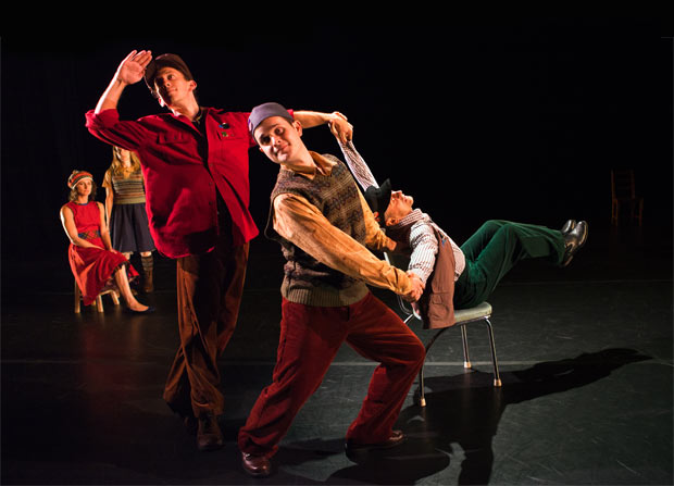 (l-r) Amber Star Merkens, Jenn Weddel, Aaron Loux, Dallas McMurray and Mikhail Baryshnikov in <I>A Wooden Tree</I>.<br />© Tim Summers. (Click image for larger version)