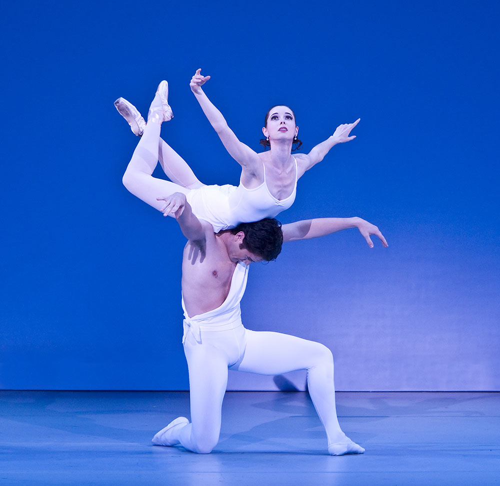 "Sara Ivan and Michael Cook in <I>Apollo</I> (<a href=""http://www.ballet.co.uk/magazines/yr_10/dec10/et_rev_suzanne_farrell_ballet_1010.htm"">from 2010 Balletco review</a>).<br />© David Bazemore. (Click image for larger version)"