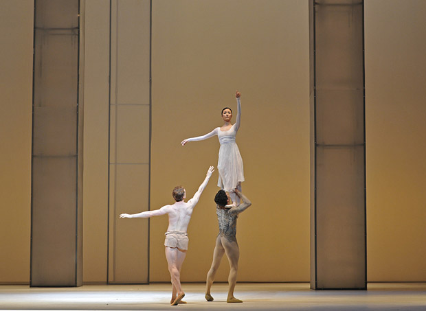 Edward Watson and Yuhui Choe supported by Thiago Soares in <I>Requiem</I>.<br />© Dave Morgan, by kind permission of the Royal Opera House. (Click image for larger version)
