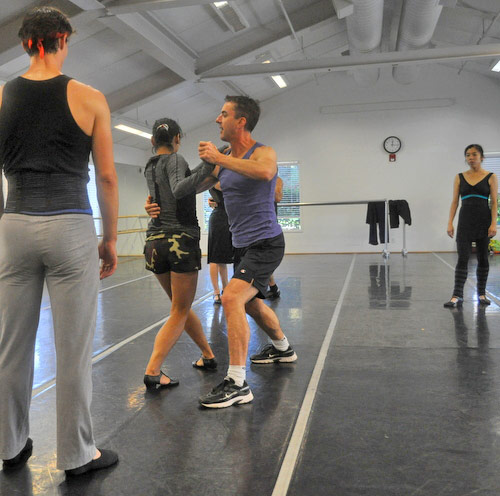 Sean Kelly leading a rehearsal of <I>A Swingin' Holiday</I>. Sean is partnering Mayo Sugano, with Hiromi Yamazaki in the background, and Aaron Orza in the foreground.<br />© Erika Johnson.