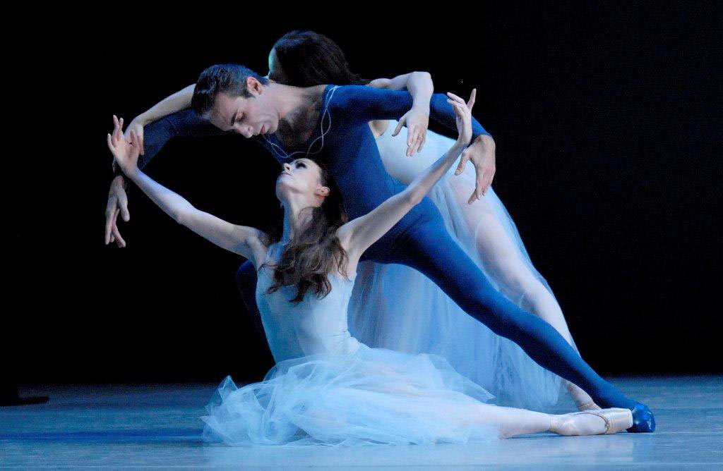 """Elisabeth Holowchuk, Momchil Mladenov and Courtney Anderson in <I>Serenade</I> (<a href=""""http://www.ballet.co.uk/2011/10/suzanne-farrell-ballet-serenade-concerto-barocco-and-diamonds-washington/"""">from 2011 Balletco review</a>).<br />© Linda Spillers. (Click image for larger version)"""