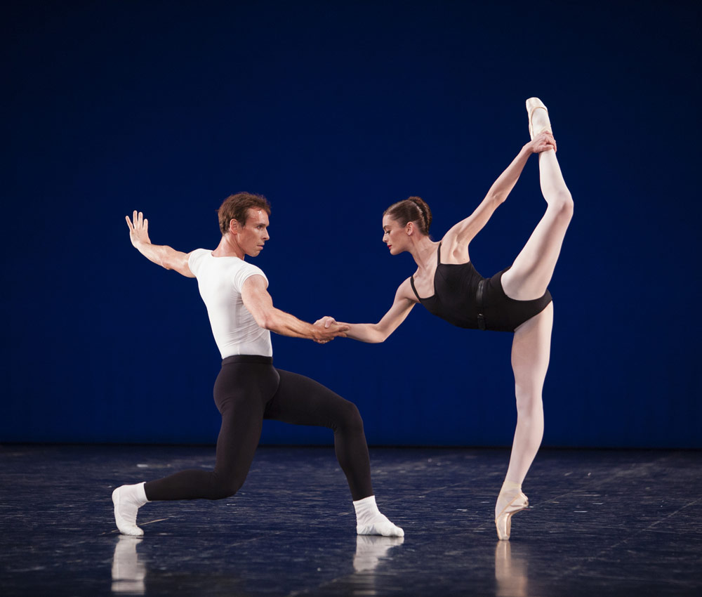 Aurelie Dupont and Nicolas Le Riche in <I>Agon</I>.<br />© Sebastien Mathe / OnP. (Click image for larger version)