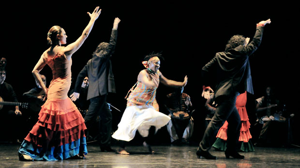 Paco Pena Flamenco Dance Company in <I>Quimeras</I>.<br />© Cesar Alocer. (Click image for larger version)