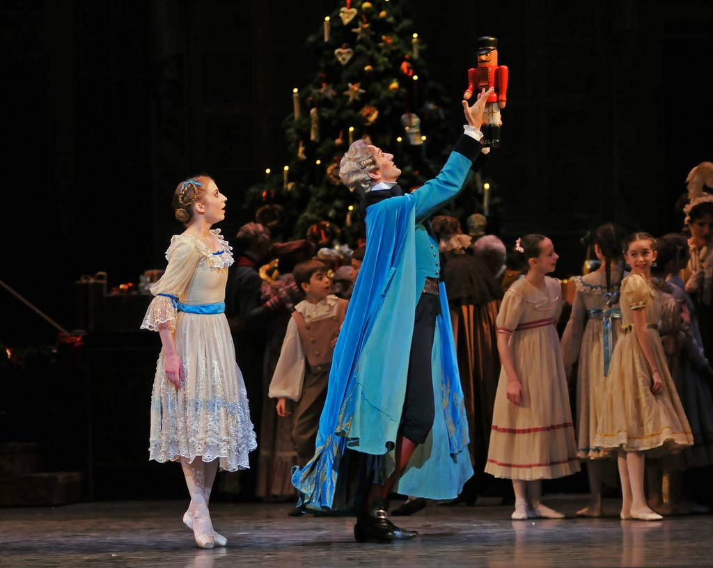 Gary Avis, as Drosselmeyer, and Meaghan Grace Hinkis as Clara in <I>The Nutcracker</I>.<br />© Dave Morgan, by kind permission of the Royal Opera House. (Click image for larger version)