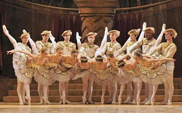 Royal Ballet in Raymonda Act III.Dancers, l-r (men first): Brian Maloney, Johannes Stepanek, Valeri Hristov, Alexander Campbell, Dawid Trzensimiech, Kenta Kura, Eric Underwood, Valentino Zuccheti, then ladies - Melissa Hamilton, Helen Crawford, Fumi Kaneko, Yasmine Naghdi, Yuhui Choe, Emma-Jane Maguire, Itziar Mendizabal, Hikaru Kobayashi.© Dave Morgan, by kind permission of the Royal Opera House. (Click image for larger version)