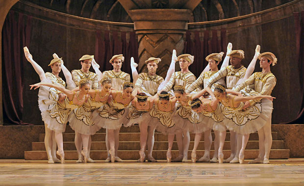 Royal Ballet in <I>Raymonda Act III</I>.<br />Dancers, l-r (men first): Brian Maloney, Johannes Stepanek, Valeri Hristov, Alexander Campbell, Dawid Trzensimiech, Kenta Kura, Eric Underwood, Valentino Zuccheti, then ladies - Melissa Hamilton, Helen Crawford, Fumi Kaneko, Yasmine Naghdi, Yuhui Choe, Emma-Jane Maguire, Itziar Mendizabal, Hikaru Kobayashi.<br />© Dave Morgan, by kind permission of the Royal Opera House. (Click image for larger version)