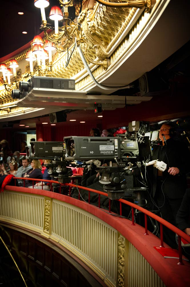 Cameras filming at the Royal Opera House - here in the Stalls Circle.<br />© Sim Canetty-Clarke, by kind permission of the Royal Opera House. (Click image for larger version)
