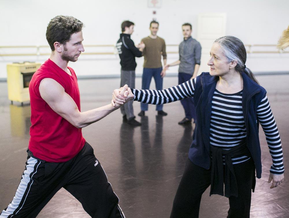 Dance artist Ana Laguna and Hubbard Street Dancer Jesse Bechard rehearse <I>Casi-Casa</I> by Mats Ek.<br />© Todd Rosenberg. (Click image for larger version)