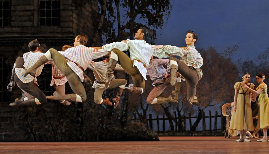 The village boys in <I>Onegin</I>.<br />© Dave Morgan, by kind permission of the Royal Opera House. (Click image for larger version)