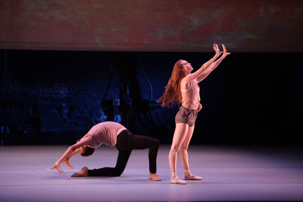 Sam Greenberg and Emilie Gerrity in Troy Schumacher's <I>Epistasis</I>.<br />© Erin Baiano. (Click image for larger version)