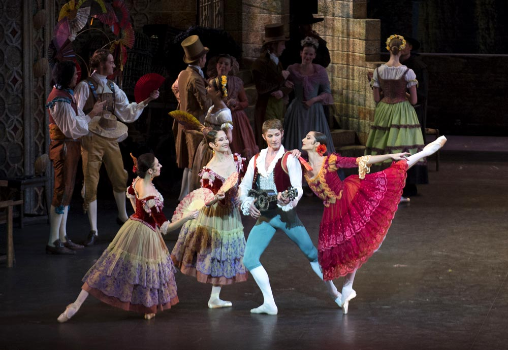 Dorothee Gilbert and Karl Paquette in <I>Don Quixote</I>.<br />© Julien Benhamou. (Click image for larger version)