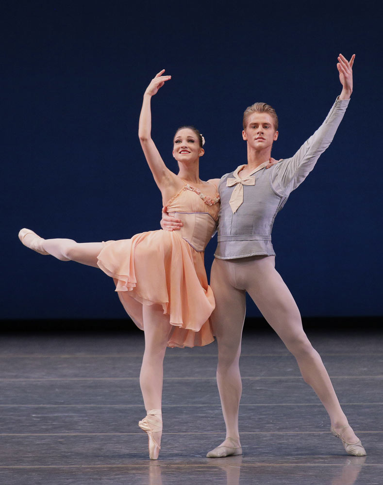 Ashley Bouder and Chase Finlay in <I>Tchaikovsky Pas de Deux</I>.<br />© Paul Kolnik. (Click image for larger version)