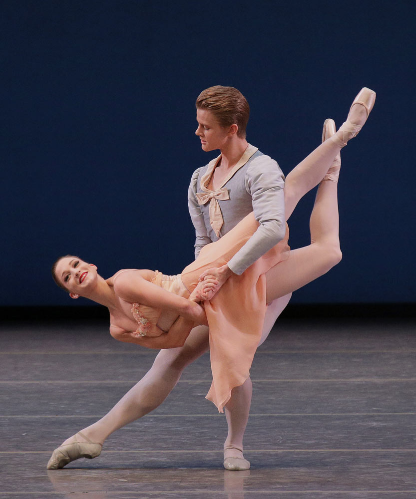 Ashley Bouder and Chase Finlay in Tchaikovsky Pas de Deux.© Paul Kolnik. (Click image for larger version)