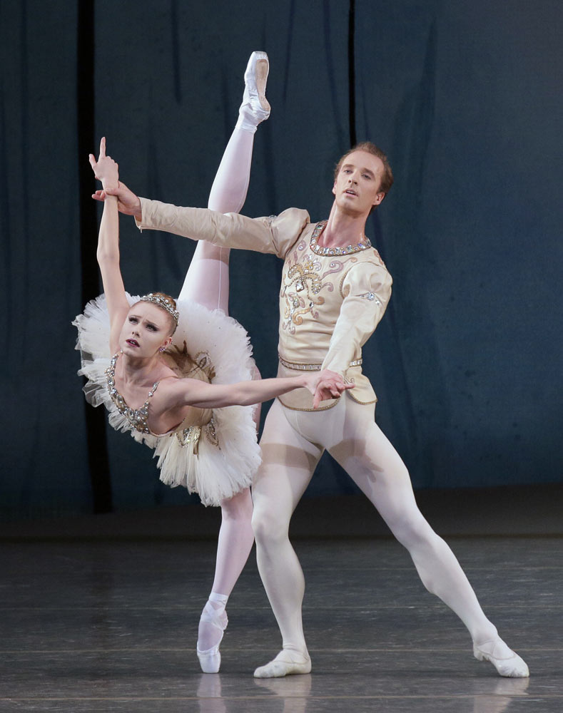 Sara Mearns and Ask La Cour in <I>Diamonds</I> (from <I>Jewels</I>).<br />© Paul Kolnik. (Click image for larger version)