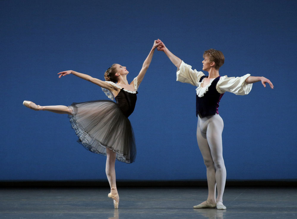 Sterling Hyltin and Chase Finlay in George Balanchine's <I>Mozartiana</I>.<br />© Paul Kolnik. (Click image for larger version)