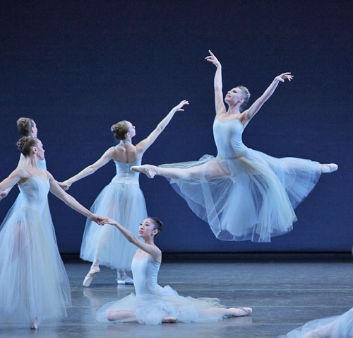 Sara Mearns and Company in George Balanchine's <I>Serenade</I>.<br />© Paul Kolnik. (Click image for larger version)