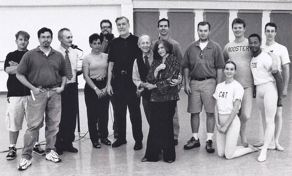 Cast and crew of Renard videoshoot with Todd Bolender (center, with Nancy Reynolds), GBF Video Archives, 2000.<br />© Brian Rushton. (Click image for larger version)
