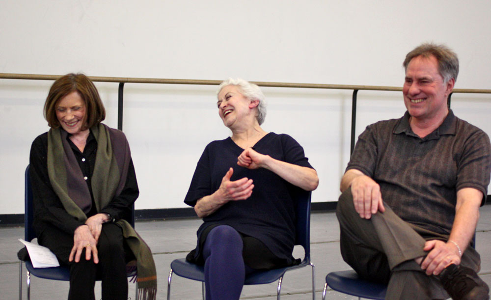Nancy Reynolds interviewing Violette Verdy and Jean-Pierre Bonnefoux about <I>Liebeslieder Walzer</I>, GBF Video Archives, 2010.<br />© Costas. (Click image for larger version)