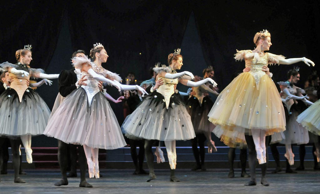 Meaghan Grace Hinkis, Hikaru Kobayashi, Leanne Cope and Helen Crawford in <I>La Valse</I>.<br />© Dave Morgan, by kind permission of the Royal Opera House. (Click image for larger version)