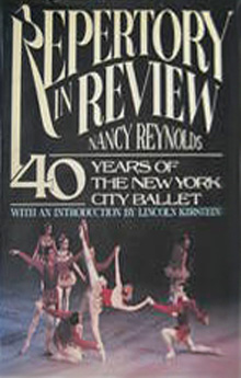 """<I>Repertory in Review: 40 Years of the New York City Ballet</I> by Nancy Reynolds.<br />© The Dial Press. Image from <a href=""""http://www.alibris.co.uk/booksearch.detail?invid=8953076280&qwork=5661562&qsort=&page=1"""">Alibris  sale page</a>"""