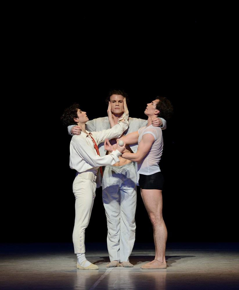 Emanuel Amuchástegui, Carsten Jung and Alexandre Riabko in Neumeier's <I>Nijinsky</I>.<br />© Erik Tomasson. (Click image for larger version)
