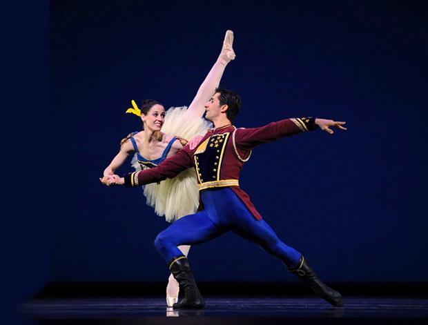Vanessa Zahorian and Davit Karapetyan in Balanchine's <I>Stars & Stripes</I>.<br />© Erik Tomasson. (Click image for larger version)