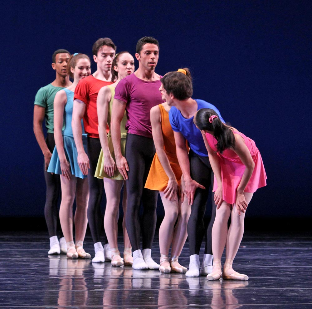 Joffrey Ballet in <I>Interplay</I>, choreographed by Jerome Robbins.<br />© Herbert Migdoll. (Click image for larger version)