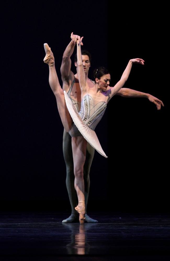 Victoria Jaiani and Fabrice Calmels in Stanton Welch's <I>Son of Chamber Symphony</I>.<br />© Herbert Migdoll. (Click image for larger version)