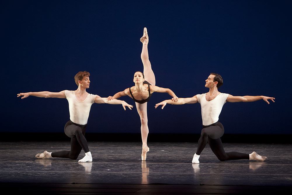 Pacific Northwest Ballet corps de ballet dancer Andrew Bartee, principal dancer Maria Chapman and soloist Jerome Tisserand in <I>Agon</I>, choreography by George Balanchine © The George Balanchine Trust.<br />© Lindsay Thomas. (Click image for larger version)