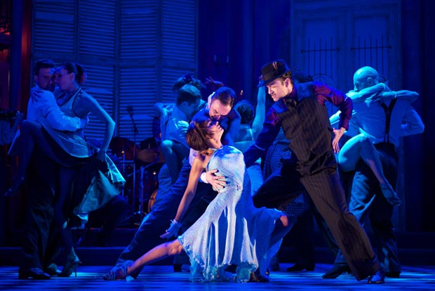 Flavia Cacace, Vincent Simone, Diomar Giraldo & the company in <I>Midnight Tango</I>.<br />© Manuel Harlan. (Click image for larger version)