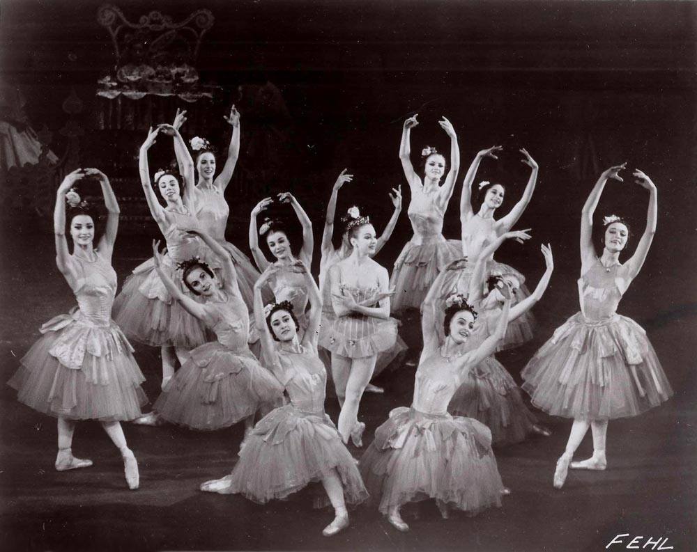 <I>Waltz of the Flowers</I> with Allegra Kent (Nancy Reynolds back row standing, second from right), ca. 1959.<br />© Fred Fehl. (Click image for larger version)
