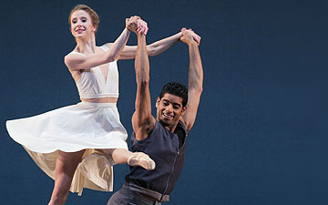 Sterling Hyltin and Amar Ramasar in Justin Peck's Paz de la Jolla.© Paul Kolnik. (Click image for larger version)