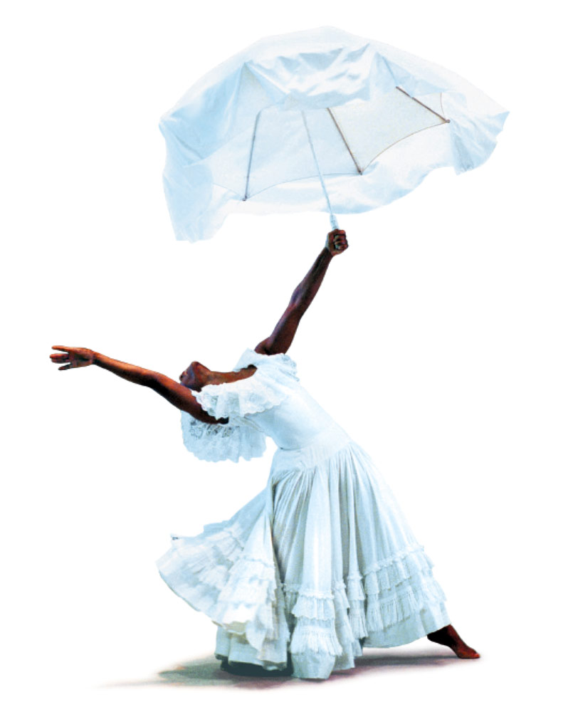 Renee Robinson silhouetted in Alvin Ailey's <I>Revelations</I>.<br />© Paul Kolnik. (Click image for larger version)