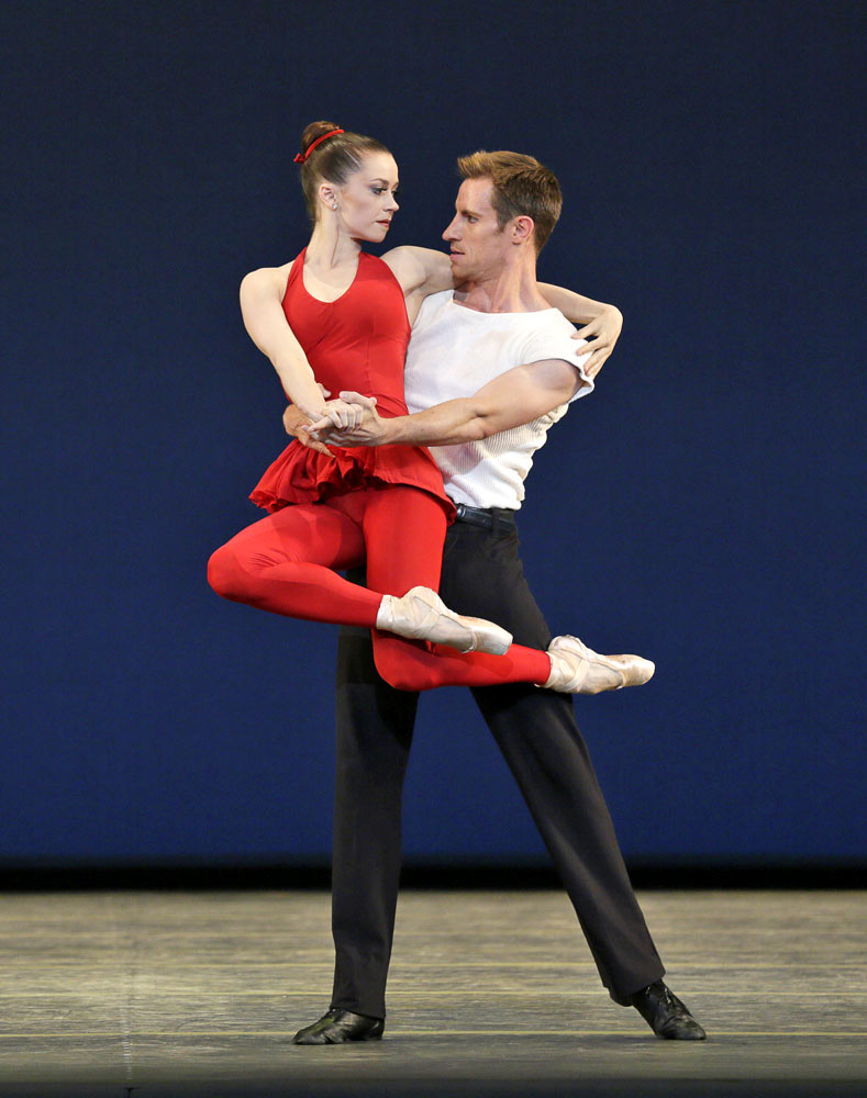 Megan Fairchild and Andrew Veyette in <I>The Waltz Project</I> by Peter Martins.<br />© Paul Kolnik. (Click image for larger version)