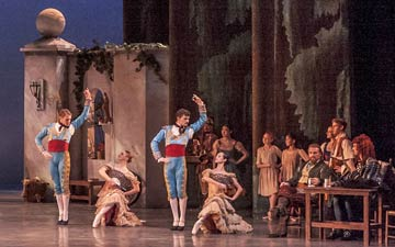 Full stage shot of the courtyard in Don Quixote.© Robert Shomler. (Click image for larger version)
