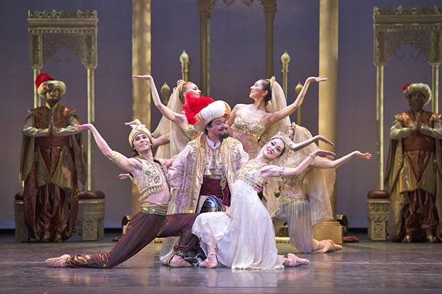 Cesar Morales, Iain Mackay and Nao Sakuma in <I>Aladdin</I>.<br />© Bill Cooper. (Click image for larger version)