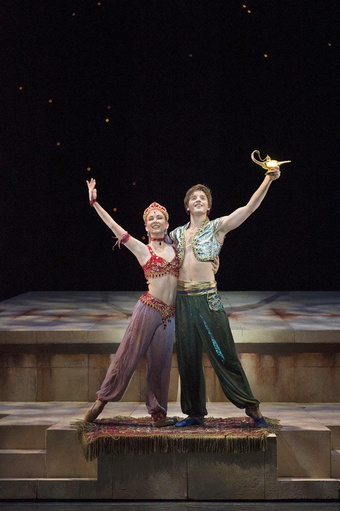 Joseph Caley and Elisha Willis in Aladdin.© Bill Cooper. (Click image for larger version)